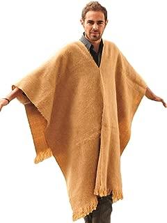 Genuine Alpaca Poncho - V Neck Poncho for Men - Light Brown