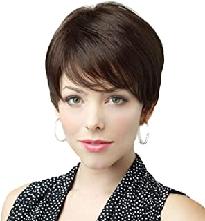 BLONDE UNICORN Short Human Hair Wigs for Women Light Brown Natural Wig with Bang (6#)