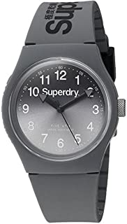 Superdry Unisex-Adult Quartz Unisex Urban Analog Quartz Watch with Laser Grey Strap Analog Display and Silicone Strap, SYG198EE