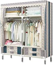Wardrobe Storage Cabinet Simple Wardrobe Closet with Drawers, Protable Clothes Cabinet Organizer Storage Rack with Hanging...