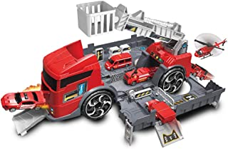 Transformers Toys Transformer fire truck to fire station play set with three rescue cars Pretend Play toys for 3 Year Old
