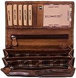 Hill Burry Leder Geldbörse | echtes Vintage Leder - XXL weiches Portemonnaie RFID (Braun)