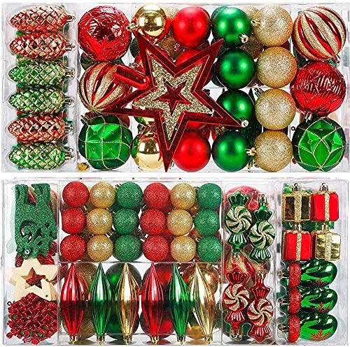 88PCS Weihnachtskugeln Ornamente für Weihnachtsbaum, zarte Weihnachtsdekoration Kugeln Bastelset Kunststoff weihnachtsbaumschmuck Kugeln Kit für Neujahrsfeier Hochzeitsfeier(Rot+Grün+Gold)