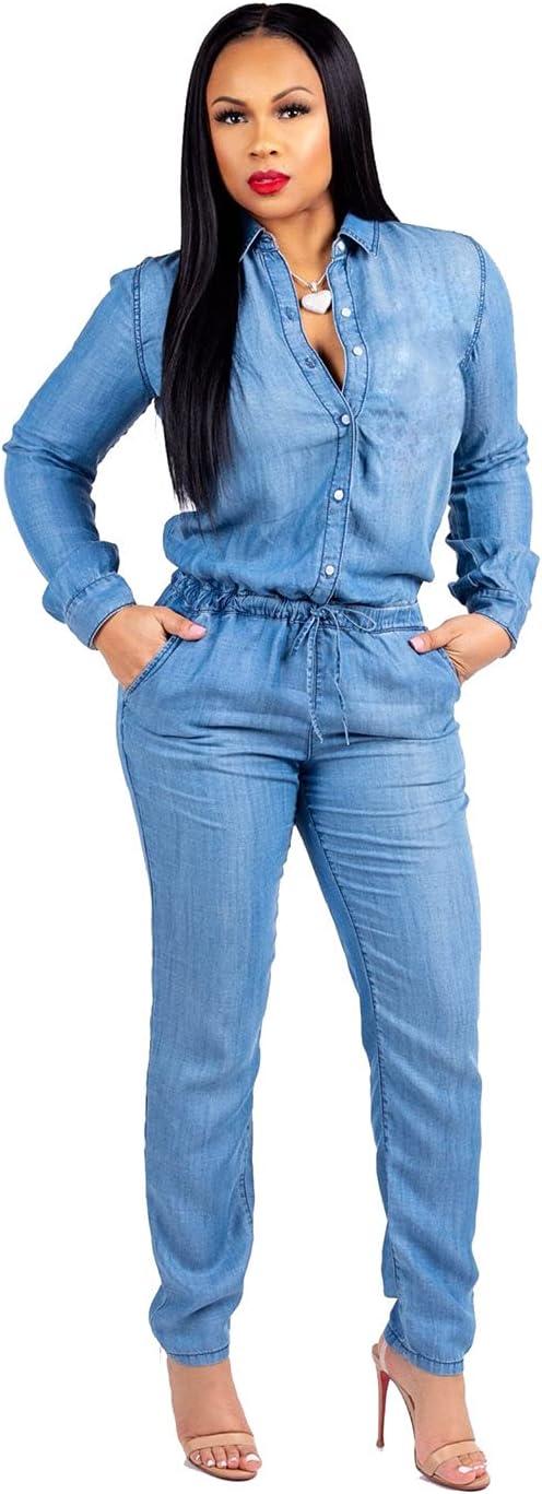 lowest price Women's Detroit Mall Long-Sleeved Denim Jumpsuit Button Down Deep Neck V Jean