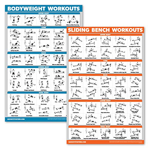 QuickFit 2 Pack - Sliding Bench Workouts & Bodyweight Exercise Poster Set - Compatible with Total Gym & Weider Ultimate Body Works (Laminated, 18' x 27')