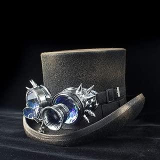 YUXINXIN 100%ウールWomem男性スチームパンクトップハットレディお父さんギアメガネフローラルブラックパンクスタイルFedora帽子サイズS M L XL (色 : ブラック, サイズ : 61CM)