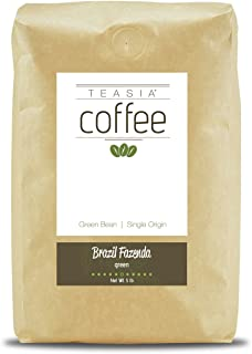 Teasia Coffee, Brazil Fazenda, Single Origin, Unroasted Whole Green Coffee Beans, 5-Pound Bag
