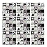 Geoyien Papel pintado de azulejos de mosaico, 10 piezas pegatinas...