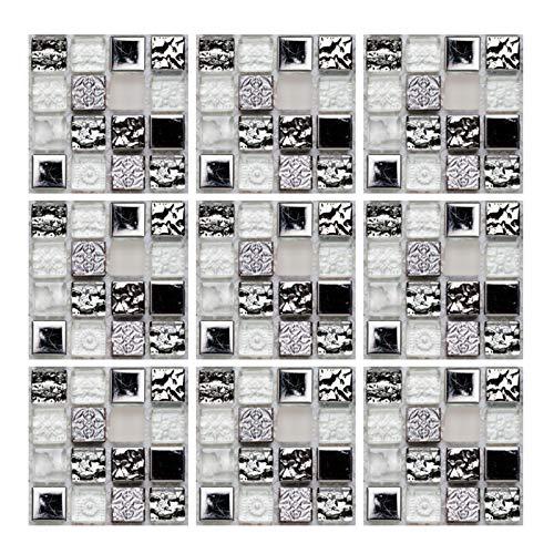 Geoyien Papel pintado de azulejos de mosaico, 10 piezas pegatinas de azulejos etiqueta autoadhesiva para azulejos papel pintado impermeable vinilos para azulejos de pared, (15 cm x 15 cm, negro)
