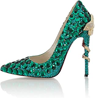 Women's High-Heeled Wedding Shoes, Sexy Rhinestone Pointed High-Heeled Shoes with A Snake Winding Heel Height of 11 cm Non-Slip Comfortable for Wedding Banquets