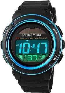 Fanmis Multi Function Alarm Stopwatch Digital LED Quartz Watch Solar Power Black Sports Watches