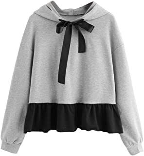 Spring Winter Blouse,Morecome Fashion Womens Ruffles Long Sleeve Hoodie Sweatshirt Casual Jumper Hooded Pullover Bow Top