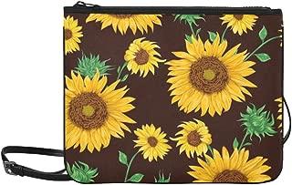 Seamless Pattern With Sunflowers On Black Backgrou Pattern Custom High-grade Nylon Slim Clutch Bag Cross-body Bag Shoulder Bag