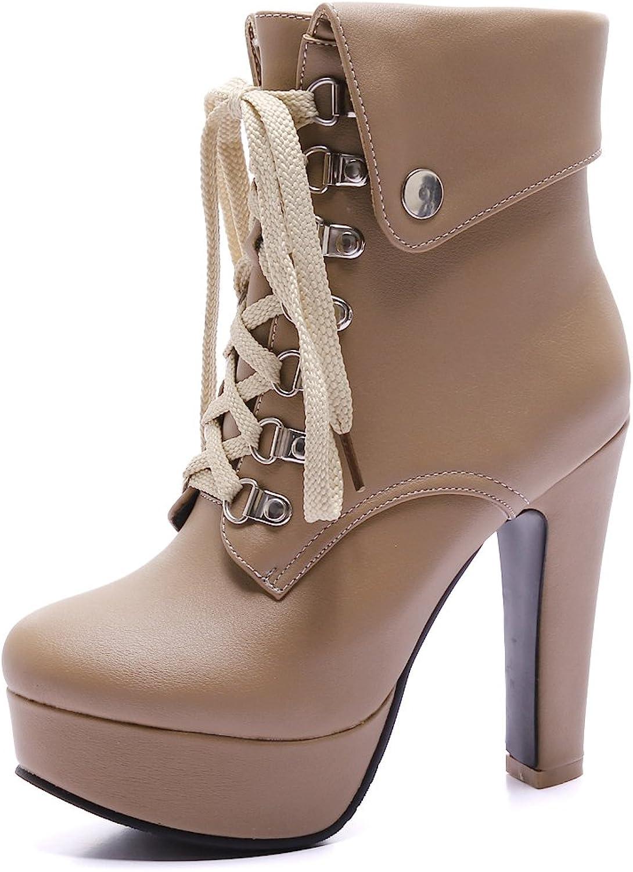 AIWEIYi Womens High Heel shoes Fashion Platform Lace-Up Martin Boots Black