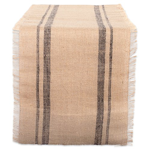 DII Jute Collection Kitchen Tabletop, 14x72, Double Stripe Gray