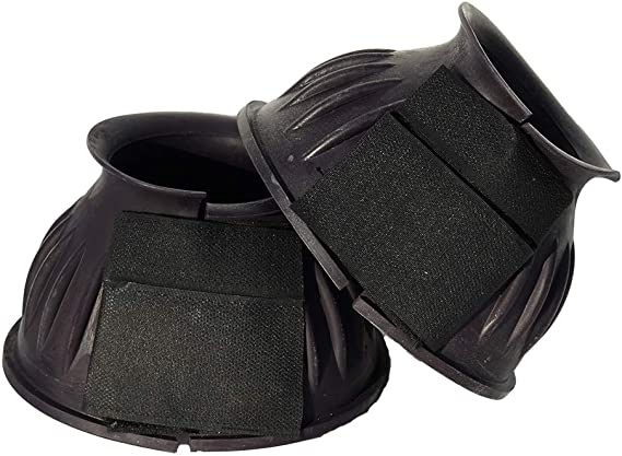 One Pair of Shires Arma Rubber Over Reach Boots Touch Close Blue All Sizes