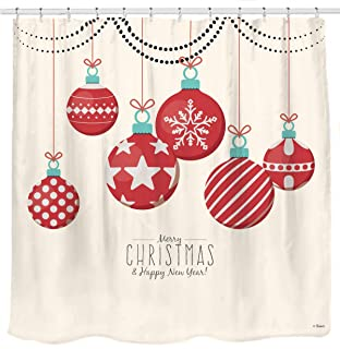 Sunlit Red Holiday Star Ornaments and Snowflake Christmas Ball Christmas Shower Curtain Fabric Decorations Festive Window Curtain Home Decor