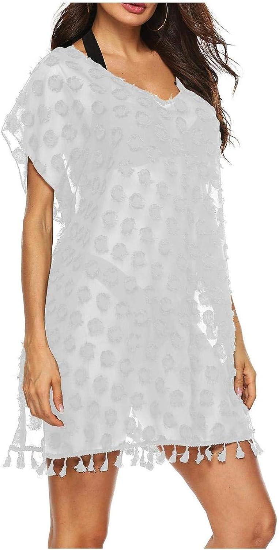 QANSI Women's Cover Ups Hollow Out Knitten Crochet Beach Dress Swimwear Bathing Suit Beachwear