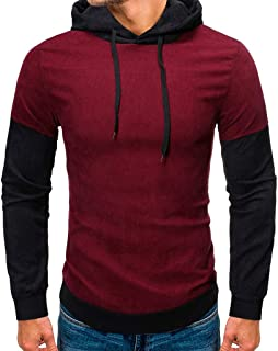 Men's Warm Casual Hoodie Pure Color Long Sleeves Sweatershirt Tops with Velvet Beautyfine