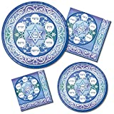 Passover Seder Party Supply Pack| Bundle Includes Paper Plates & Napkins for 16 People | Pesach Design