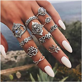 Campsis 11PCS Baroque Women Ring Sets Flower Knuckle Stacking Multi Size Rings Boho Leaf Mid Rings for Women and Girls(Silver)