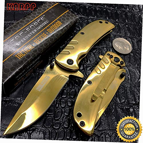 Assisted Open Golden Ti-Coating Stainless Small Hunting Camping Pocket - Outdoor Camping perfect For Hunting EDC EMT