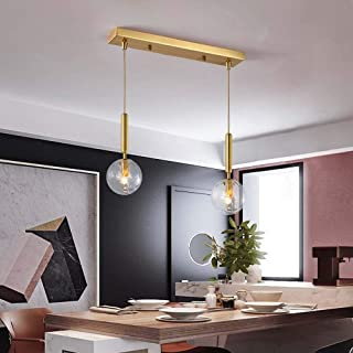 TOMSSL All Copper Nordic Bedside Chandelier Modern Minimalist Living Room Bedroom Dining Double Glass Sphere of Creative Decorative Lighting Length: 60cm Height: 35cm
