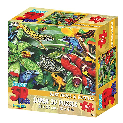 Howard Robinson Animals 63 Piece Super 3D Children's Puzzle-Dart Frog and Reptiles, Red, 11.8 x 10.5 x 8.5 cm