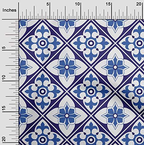 oneOone Lycra De Poliéster Tela florales y azulejos Marroquí Vestir Tela De La Impresión Material De La Tela Por Metros 56 Pulgadas De Ancho