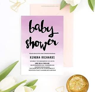 Dozili Invitation Lavender Gradient Baby Shower Invitation Modern Calligraphy Watercolor Ombre Customizable to Any Event
