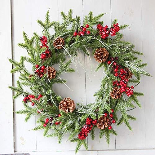 BALLYE Christmas Wreaths Garlands Decoration Christmas Wreaths for Front Door Creative 60cm Christmas Door Wreath Hanging Ornament Cherry Pine Cone Christmas Tree Decoration Wreaths Rattan