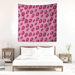 Willsd Fruit DIY Tapestry Pop Art Style Strawberry Pattern Vibrant Toned Retro Fresh Fashion Graphic Tapestry for Home Decor 55W x 55L INCH Pale Pink Magenta