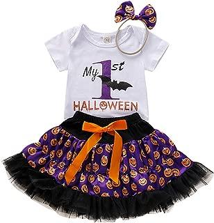 Girls Halloween Outfit,[3 Pcs] Short Sleeve Romper+Ballet Skirt+Bow Headband 0-18M Bat School Costume Dress Gift