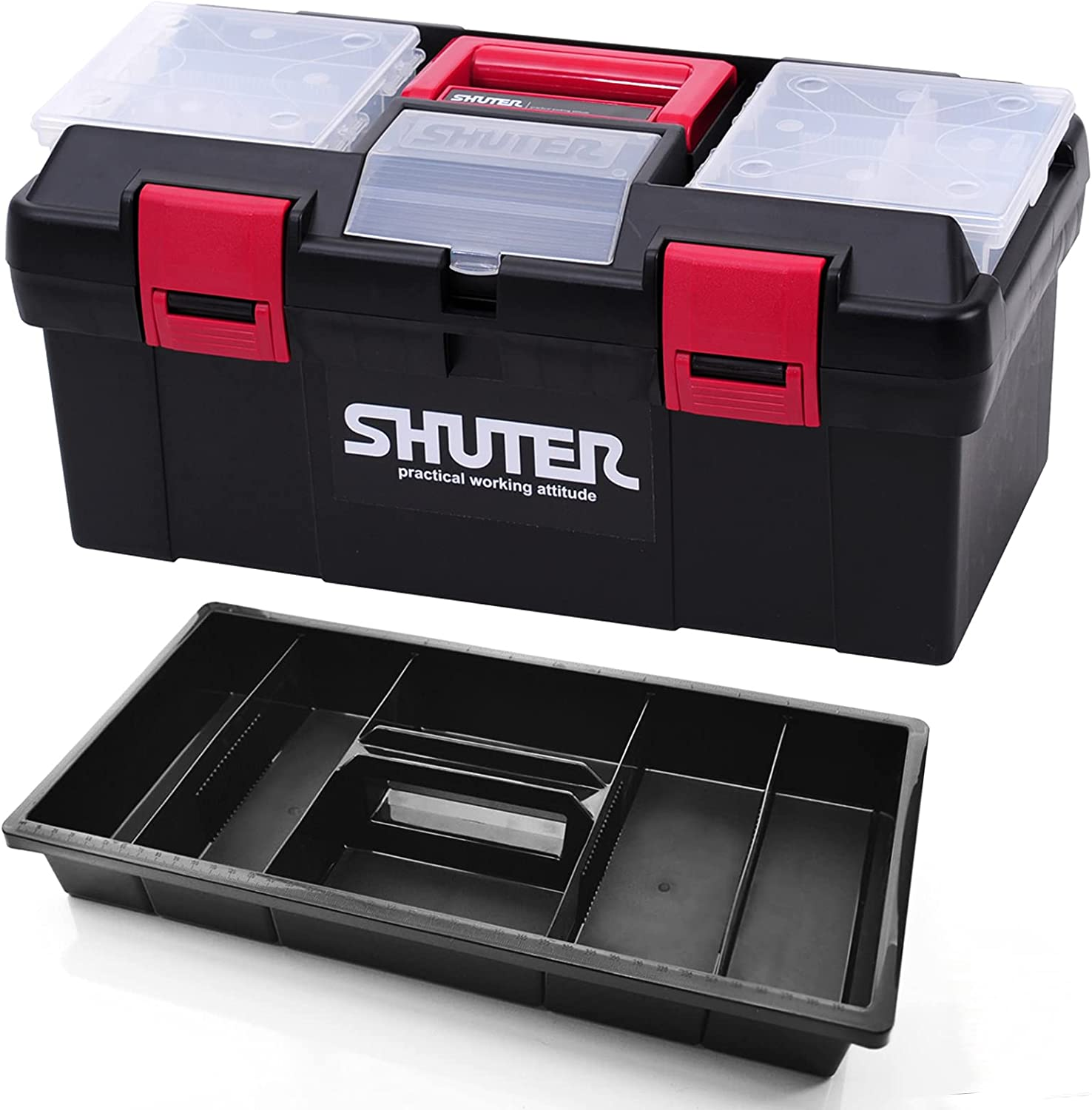 SHUTER 17.5 inch Plastic New popularity Tool Box Clea Cheap bargain 2 Removable and with Tray