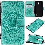 KKEIKO Hülle für Nokia 1 Plus, PU Leder Brieftasche Schutzhülle Klapphülle, Sun Blumen Design Stoßfest Handyhülle für Nokia 1 Plus - Grün