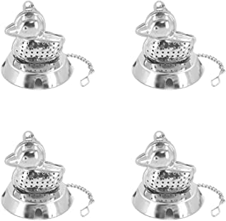Loose Leaf Tea Infuser Ball, Stainless Steel Tea Strainer Set of 4 with Chain and Drip Trays, Tea Filter for Mug, Cup and Pitcher (Duck)