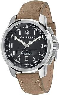 ساعة جلد نوباك دائرية انالوج بعقارب واطار مختلف اللون للرجال من مازيراتي R8851121004 - بيج