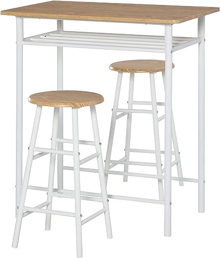 HOMCOM Bartisch mit Stuhlset mit Rutschfester Fußmatte Küchentisch und Stühle Stehtisch und Barhocker mit Lagerregal MDF-Platte Stahl Weiß+Eiche 80…