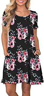 KORSIS Women s Summer Casual T Shirt Dresses Short Sleeve Swing Dress with  Pockets 2959abaf5