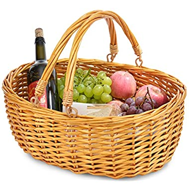 Wicker Basket with Double Folding Handles | Wicker Easter Basket | Storage of Plastic Easter Eggs and Easter Candy | Willow Picnic Basket | Organizer Blanket Storage | Bath Toy and Kids Toy Storage
