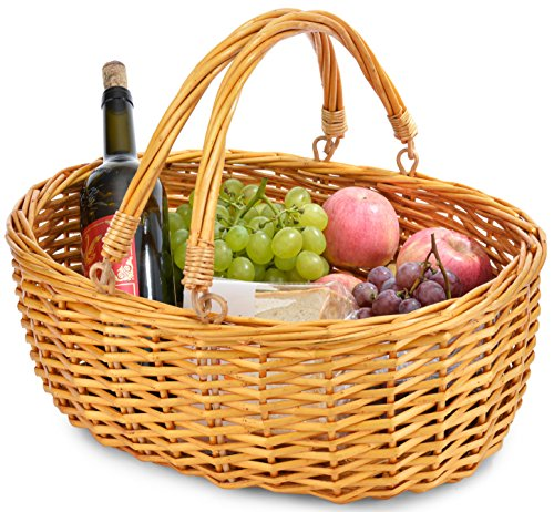 Best Review Of Wicker Basket with Double Folding Handles | Wicker Easter Basket | Storage of Plastic...