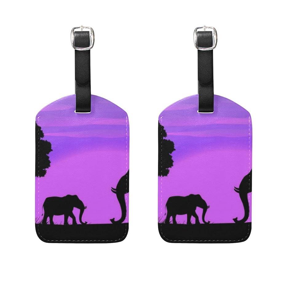 こしょう上記の頭と肩長老象紫荷物タグ2個ポータブルAddr名タグホルダー識別子ラベルチェックカードトラベルバッグスーツケース