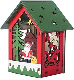 XDQFY Christmas Luminous Wooden House with Colorful LEDs Light DIY Wood Chalet Snowman Deer Santa Claus Ornament Festival,A