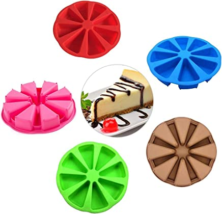 Catinbow Cake Mould,8 Cavity Triangle Silicone Mold Candy Cake Mould Soap Pastry Pizza Mold DIY Baking Tools(Color-Random)