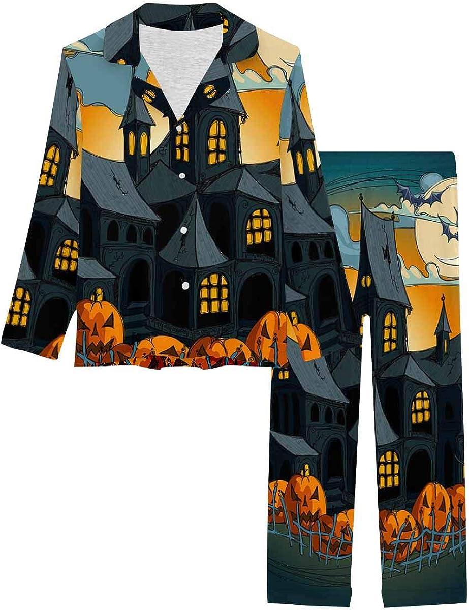 InterestPrint Long Sleeve Button Down Nightwear with Long Pants Halloween