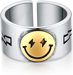 VLINRAS Smiley Face Ring Open Adjustable Smile Band Ring Cute Statement Ring for Gilrs and Women