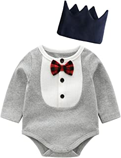 Fairy-Baby Toddler Boys Long Sleeve Autumn Romper Gentleman Style Cotton Playwear with Matching Hat