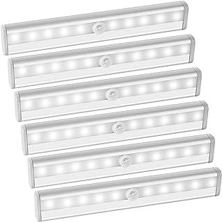 AMIR 10 LED Motion Sensing Closet Lights, DIY Stick-on Anywhere Portable 10-LED Wireless Cabinet Night/Stairs Light Bar wi...