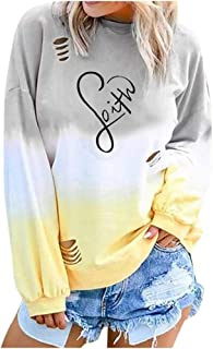 Womens Casual Heart Print Color Block Pullover Sweatshirts O Neck Tops Blouse Shirt Tee