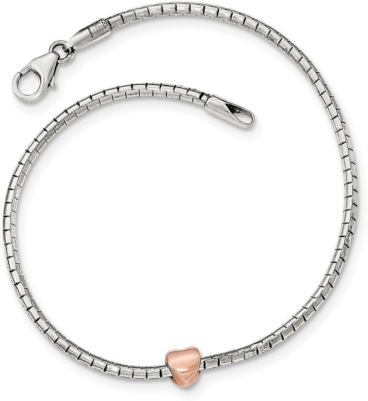 925 Sterling Silver pink tone Heart Bracelet 7inch For Women